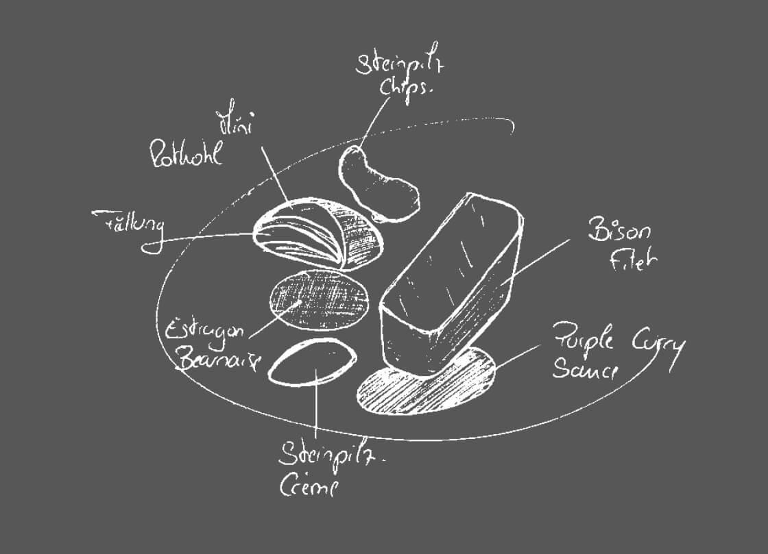 Schwitzers_Sternerestaurant_Bison_Zeichnung