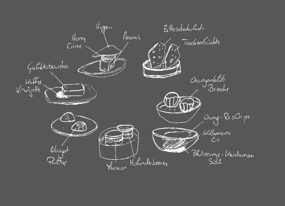 Schwitzers_Sternerestaurant_Petit_Fours_Zeichnung